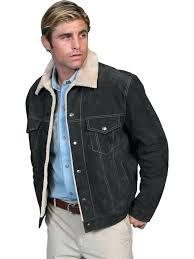 big fur coat mens leather jacket casual suede denim style w faux fur black big