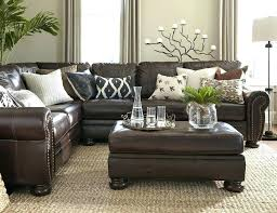 full size of brown couch with blue and white pillows dark leather sofa rug living room