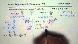 solve linear trigonometric equations with double triple angles 7