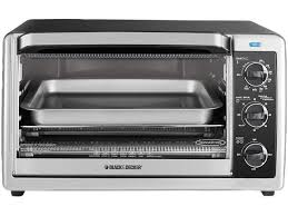 black decker to1675b 6 slice countertop convection toaster oven black silver