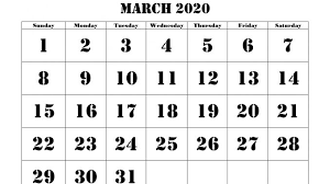 Word 2020 Calendars Blank Printable March 2020 Calendar Template Word Document