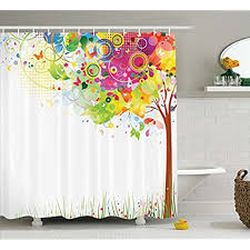 colorful fabric shower curtains. Life Colorful Pastoral Creative Design Modern Style Art Print Decor Bathroom Decoration Abstract Paints Illustration Artwork Fabric Shower Curtain Green Curtains