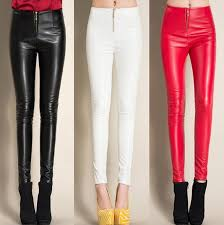 2019 0521 2017 winter black white red fleece leggings faux leather pants skinny pencil pants casual with zipper trousers women from sogga 26 07 dhgate