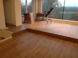 excellent contemporary hall applying wood laminate flooring tile combined with clear glass front wall furnished with