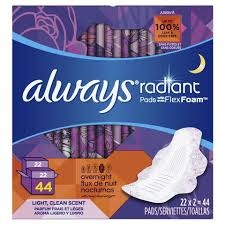 Always Radiant Overnight Pads Light Clean Scent P G