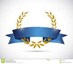 Blue Ribbon Design Gold Laurel And Blue Ribbon Illustration Design Stock