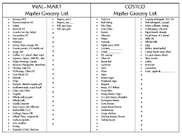 Grocery Chart Master Grocery List Walmart And Costco From Charts Lists