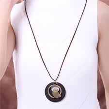 bird wooden bead pendant necklace rope chain 85cm metal zinc alloynecklaces pendants