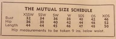 1950s Clothing Size Chart Decoding Vintage Sizing Circa Vintage Clothing