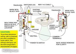 how to wire a three way switch the family handyman figure b power to light switch this diagram shows how to wire