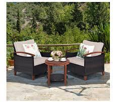 dortala 3 pieces patio rattan furniture