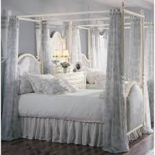 Blue White Canopy Curtain With Floral Pattern Style Also Four Poster Bed  And Corner Vanity Dresser With Mirror And Teenage Girl Bedroom Decor