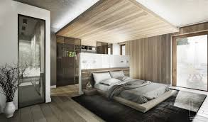 In this bedroom, the false ceiling complements the overall design. Made of  wood, the panel above marks the sleeping area, while also offering space  for ...