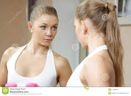 looking in mirror reflection. royalty-free stock photo looking in mirror reflection