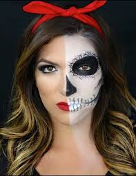 half skull half pin up makeup