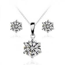 solitaire pendant stud earrings set made with crystals from swarovski