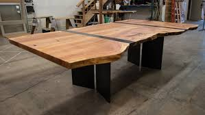 Custom Table Crafted From Redwood Slab Hammer Hand