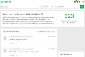 screenshot of the glassdoor website showing interview questions for teachers in texas
