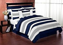 Amazon Navy Blue Gray and White Stripe 4 Piece Childrens