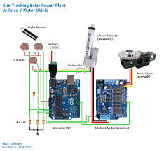 mobile sun tracking solar power plant visual schematic arduino