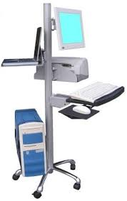 VC01 Mobile Height-Adjustable Pole Computer Station - Sit or Stand   Oceanpointe Distributors Corporation