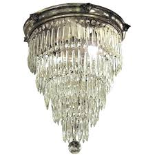 1920s crystal chandelier silver plated crystal wedding cake flush mount chandelier with five tiers for 1920s es crystal rod rectangular chandelier