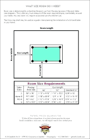 Pool Table Sizes Chart Pool Cue Size Chart Equityhouse Site