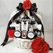 a wedding gift basket with nice selection of perfumes
