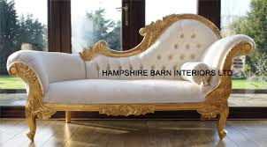 A Gold leaf medium Hampshire chaise in cream fabric crystals .