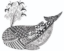 Free Whale Zen Tangles Adult Coloring Page Free Printable