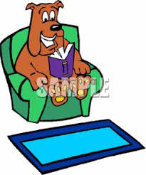 dog sitting in an easy chair reading a book royalty free clipart picture