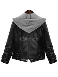 black moto jacket women s hooded zipper casual leather jacket no