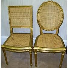 gold painted furniturePair Louis XV gold painted cane chairs 2296263