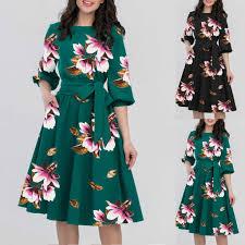 Half Sleeve Pocket Design High Waist Dress Girls Dress 2020 A Line Women Elegant O Neck Half Sleeve