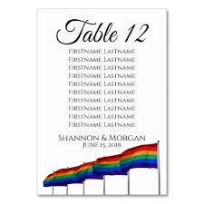 Gay Pride Wedding Table Number W Seating Chart