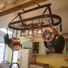 Kitchen Pot Rack Hanging Pot Rack With Lights Pinteres