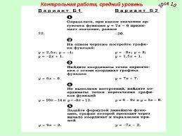 Линейная функция и ее график в курсе класса Контрольная работа средний уровень