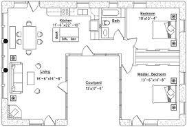 2 bedroom pool house floor plans. U Shaped House Plan 2 Bedroom Pool Floor Plans