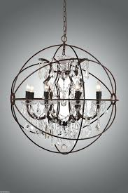 chandeliers orb chandelier with crystal 4 sizes new rustic iron a globe style country smoke