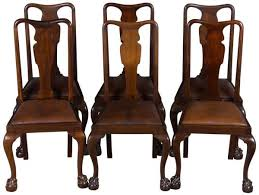 a set of six gany queen anne style ball and claw foot antique dining chairs