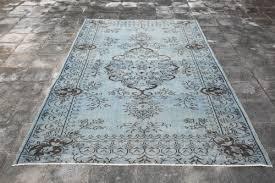 5 7x9 1 ft overdyed rug turkish rug light blu rug