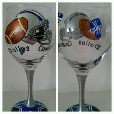 dallas cowboys wine glass 15 hand painted