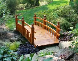 ... Natural Yellow Wooden Bridge Crossing Small River In Green Garden ...
