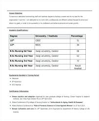 Nursing Resume Format Resume For Life Science Freshers Nursing