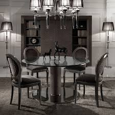 dining table sets exclusive high end luxury round glass dining set black italian nubuck leather