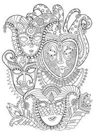 mask carnival anti stress coloring pages