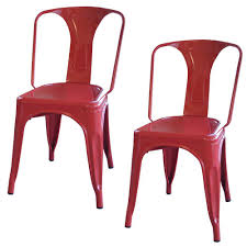 amerihome red metal dining chair set of 2