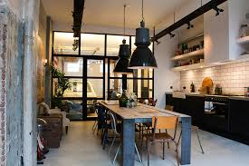 industrial dining room lighting. industrial dining light kitchen eclectic with glass doors converted garage table room lighting