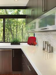 modern tile kitchen countertops. Modern Kitchen With White Quartz Countertop Brown Cabinets And Glass Marble  Mix Backsplash Tile Modern Countertops