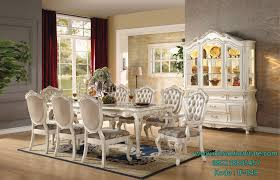 dining room furniture sets. This Collection Features A Beautiful Floral Carved Leg Table, Complimented By French Rococo Tufted Rose Gold Upholstery Chairs Dining Room Furniture Sets